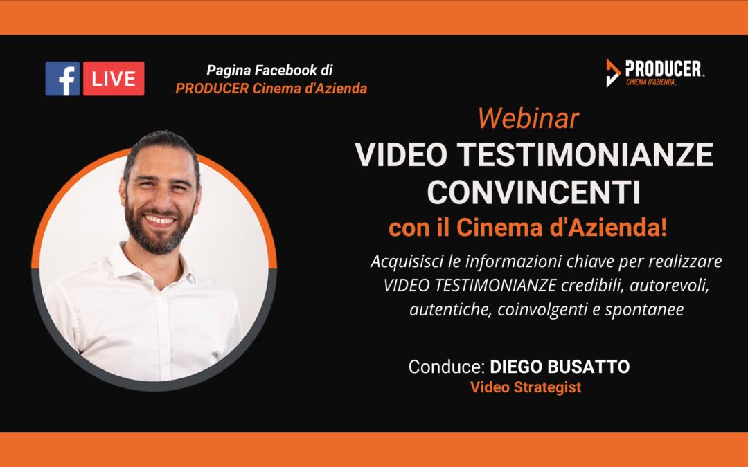 Webinar PRODUCER: Video Testimonianze Convincenti con il Cinema d'Azienda